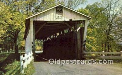 cou100508 - Everett Road, Boston Township, OH USA Covered Bridge Postcard Post Card Old Vintage Antique