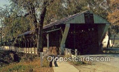 cou100510 - Newton Falls, OH USA Covered Bridge Postcard Post Card Old Vintage Antique