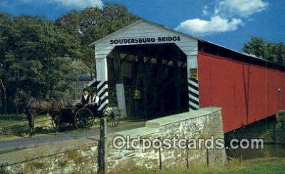 cou100522 - Soudersburg, Dutch Country, USA Covered Bridge Postcard Post Card Old Vintage Antique