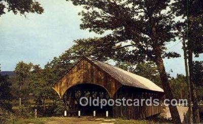 cou100530 - Sunday River, Newry, ME USA Covered Bridge Postcard Post Card Old Vintage Antique