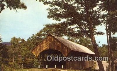 cou100532 - Sunday River, Newry, ME USA Covered Bridge Postcard Post Card Old Vintage Antique