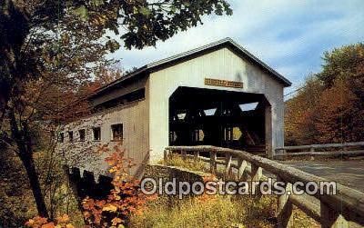 cou100552 - Bissell, Charlemont, MA USA Covered Bridge Postcard Post Card Old Vintage Antique