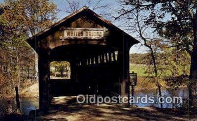 cou100560 - Whites, Ionia Co, USA Covered Bridge Postcard Post Card Old Vintage Antique