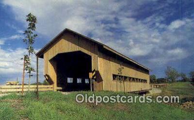 cou100564 - Caine Road, Ashtabula Co, USA Covered Bridge Postcard Post Card Old Vintage Antique