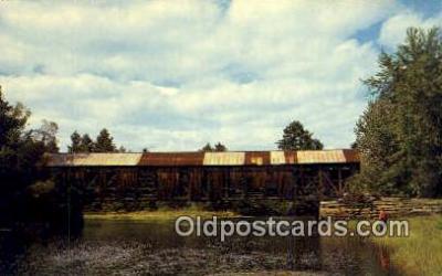 cou100594 - Hemlock, Bridgton, ME USA Covered Bridge Postcard Post Card Old Vintage Antique