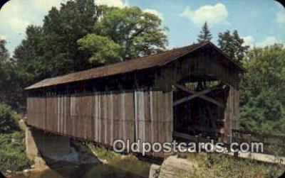 cou100598 - Ada, Ada, MI USA Covered Bridge Postcard Post Card Old Vintage Antique
