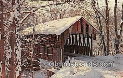 cou100780 - Covered Bridge Vintage Postcard