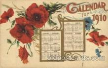 cal001019 - 1910 Calendar Postcard Post Card
