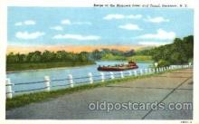 can001008 - Barge on the Mohawk River & Canal, Herkimer, NY USA Canal, Canals, Postcard Post Card