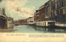 can001022 - Erie Canal in Syracuse, New York, NY USA Canal, Canals, Postcard Post Card