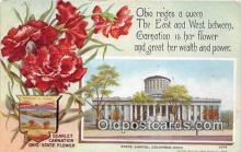 cap002536 - Scarlet Carnationa, State Capitol Columbus, Ohio, USA Postcard Post Card