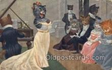 cat001670 - Artist Arthur Thiele Cat Cats, Old Vintage Antique Postcard Post Card