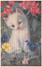 cat002099 - White Kitten & Flowers Heda Armour Postcard Post Card