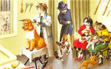 cat254234 - Cat Post Card Old Vintage Antique