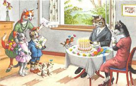 cat254237 - Cat Post Card Old Vintage Antique
