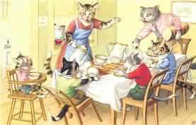 cat254247 - Cat Post Card Old Vintage Antique