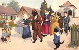 cat254248 - Cat Post Card Old Vintage Antique