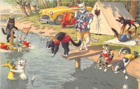cat254252 - Cat Post Card Old Vintage Antique