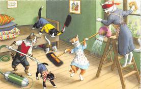 cat254256 - Cat Post Card Old Vintage Antique