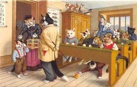 cat254264 - Cat Post Card Old Vintage Antique
