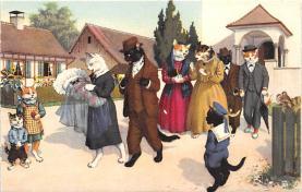 cat254265 - Cat Post Card Old Vintage Antique