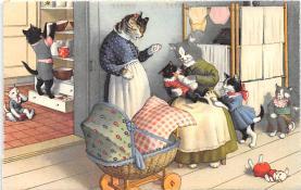 cat254266 - Cat Post Card Old Vintage Antique