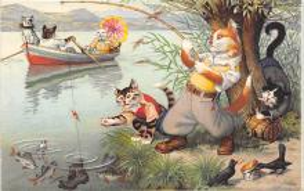 cat254287 - Cat Post Card Old Vintage Antique