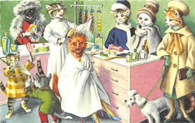 cat254295 - Cat Post Card Old Vintage Antique