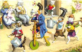 cat254302 - Cat Post Card Old Vintage Antique