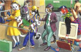 cat254336 - Cat Post Card Old Vintage Antique