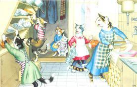 cat254341 - Cat Post Card Old Vintage Antique