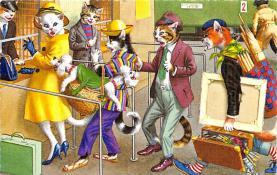 cat254345 - Cat Post Card Old Vintage Antique