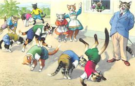 cat254347 - Cat Post Card Old Vintage Antique