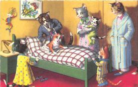 cat254378 - Cat Post Card Old Vintage Antique