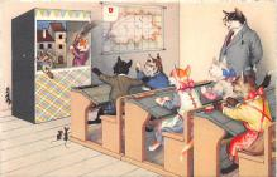 cat254382 - Cat Post Card Old Vintage Antique