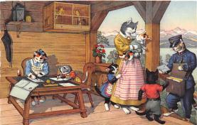 cat254383 - Cat Post Card Old Vintage Antique