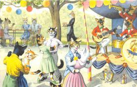 cat254391 - Cat Post Card Old Vintage Antique