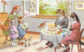 cat254451 - Cat Post Card Old Vintage Antique