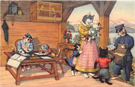 cat254458 - Cat Post Card Old Vintage Antique