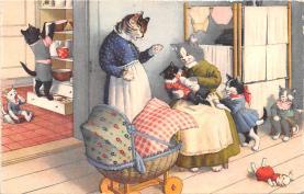 cat254462 - Cat Post Card Old Vintage Antique