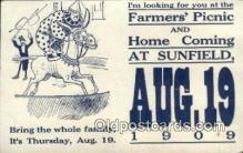 cir007080 - Farmers Picnic & Home Coming at Sunfield Circus Postcard Post Card Old Vintage Antique