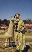 cir007098 - Clown and Llama Cirucs World Baraboo, Wisconsin, USA Postcard Post Card, Carte Postale, Cartolina Postale, Tarjets Postal,  Old Vintage Antique