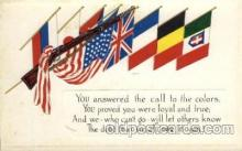 civ001071 - Flags Military, War, Postcard Post Card