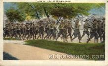 civ001088 - Troops on hike at military camp Military, War, Postcard Post Card