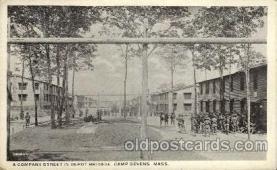 civ001089 - A company street in depot brigade, Camp Devens, Mass., Massachusetts, USA Military, War, Postcard Post Card
