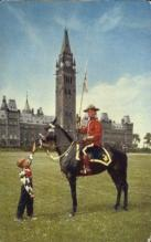 cmp001030 - Mountie at Peace Tower Royal Canadian Mounted Police Old Vintage Antique Postcard Post Card