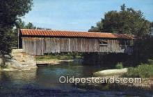 cou100137 - Old Covered Wood Bridge, Waitsfield, VT USA Covered Bridge Postcard Post Card Old Vintage Antique
