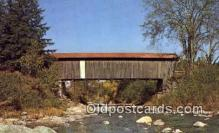 cou100149 - Covered Bridge, Jeffersonville, VT USA Covered Bridge Postcard Post Card Old Vintage Antique
