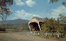 cou100153 - Covered Bridge, Mt. Ascutney, VT USA Covered Bridge Postcard Post Card Old Vintage Antique