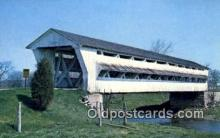 cou100168 - Spanning Little Darby Creek, Union Co, OH USA Covered Bridge Postcard Post Card Old Vintage Antique